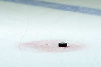 KELOWNA, BC - NOVEMBER 16: A hockey puck lies on the ice at Prospera Place on November 16, 2019 in Kelowna, Canada. (Photo by Marissa Baecker/Shoot the Breeze)