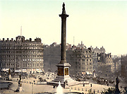 Trafalgar Square viewed from the National Gallery, London, England, 1890-1900.  Nelson's  Column in the centre with Edwin Landseer's lions guarding the plinth.  City Architecture Traffic Transport Omnibus Horse