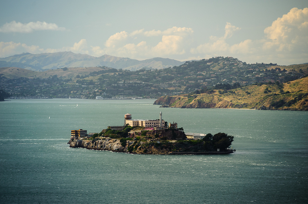 Alcatraz Federal Penitentiary,  View from  Coit Tower, San Francisco, California