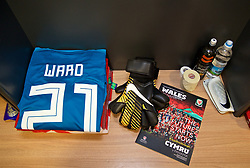 CARDIFF, WALES - Tuesday, November 14, 2017: The Wales shirt of goalkeeper Daniel Ward in the dressing room ahead of the international friendly match between Wales and Panama at the Cardiff City Stadium. (Pic by David Rawcliffe/Propaganda)