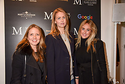 Left to right, Arabella Holland, Coco Strunck and Jemima Cadbury at a private view of work by Bradley Theodore entitled 'The Second Coming' at the Maddox Gallery, 9 Maddox Street, London England. 19 April 2017.