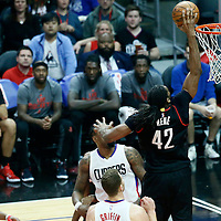 01 March 2017: Houston Rockets center Nene Hilario (42) goes for the dunk during the Houston Rockets 122-103 victory over the LA Clippers, at the Staples Center, Los Angeles, California, USA.