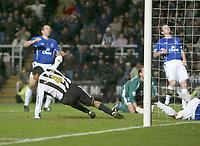 Photo: Andrew Unwin.<br />Newcastle United v Everton. The Barclays Premiership. 25/02/2006.<br />Newcastle's Nolberto Solano (L) starts to celebrate scoring his team's first goal.