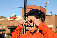 Kevin Rankin of Beavercreek gets ready to take part in the Dayton Movember Mustache Ride to benefit men's cancer awareness and research through downtown Dayton on First Friday, November 4, 2011.