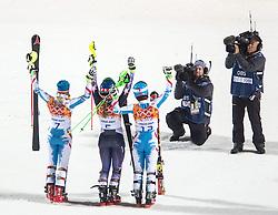 21.02.2014, Rosa Khutor Alpine Resort, Krasnaya Polyana, RUS, Sochi, 2014, Slalom, Damen, 2. Durchgang, im Bild v.l.n.r. Olympiasiegerin Mikaela Shiffrin (USA), Silbermedaillen Gewinnerin Marlies Schild (AUT), Bronzemedaillen Gewinnerin Kathrin Zettel (AUT) // f.l.t.r. olympic Champion Mikaela Shiffrin of the USA, silver Medalist Marlies Schild of Austria, bronze Medalist Kathrin Zettel of Austria reacts in the finish area during the 2nd run of ladies Slalom to the Olympic Winter Games Sochi 2014 at the Rosa Khutor Alpine Resort, Krasnaya Polyana, Russia on 2014/02/21. EXPA Pictures © 2014, PhotoCredit: EXPA/ Johann Groder