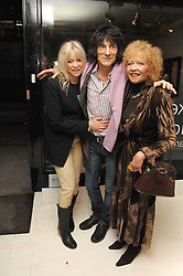 Left to right, RONNIE & JO WOOD and her mother RACHEL KARSLAKE at an exhibition of artist Paul Karslake's work entitled Ideas & Idols, held at Scream, 34 Bruton Street, London W1 on 21st February 2008.<br />