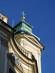 Tower with cross on top against blue sky, Vienna, Wien, Austria