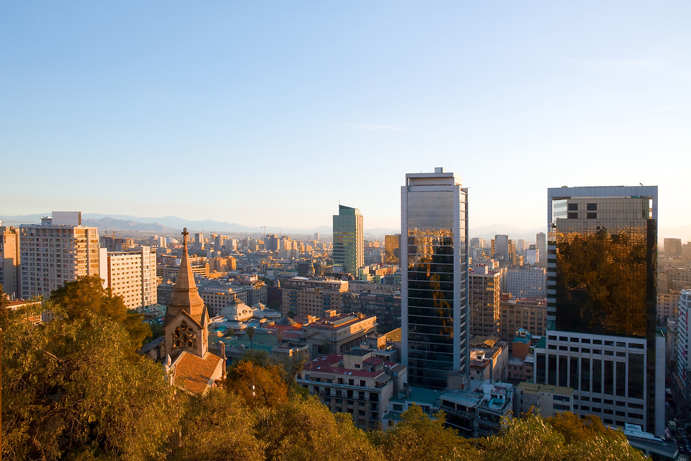 Downtown view from Santa Lucia Hill, Santiago, Chile, South America