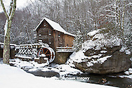 67395-04101 Glade Creek Grist Mill in winter, Babcock State Park, WV