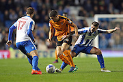 Wolverhampton Wanderers midfielder Conor Coady (16) and Brighton & Hove Albion midfielder Oliver Norwood (21) during the EFL Sky Bet Championship match between Brighton and Hove Albion and Wolverhampton Wanderers at the American Express Community Stadium, Brighton and Hove, England on 18 October 2016.