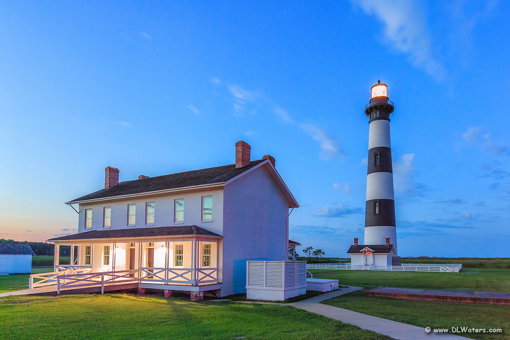 Bodie Island Lighthouse at twilight on the Outer Banks of NC.