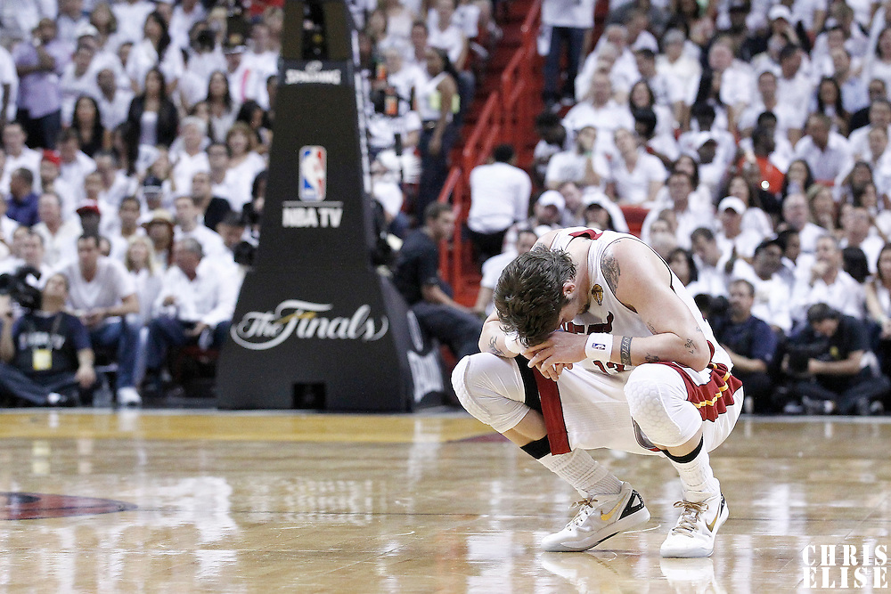 21 June 2012: Miami Heat shooting guard Mike Miller (13) rests during the Miami Heat 121-106 victory over the Oklahoma City Thunder, in Game 5 of the 2012 NBA Finals, at the AmericanAirlinesArena, Miami, Florida, USA. The Miami Heat wins the series 4-1.