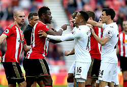 Lamine Kone of Sunderland points his finger at Swansea City players during a scuffle - Mandatory by-line: Robbie Stephenson/JMP - 13/05/2017 - FOOTBALL - Stadium of Light - Sunderland, England - Sunderland v Swansea City - Premier League
