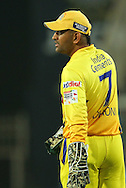 Chennai Super Kings captain MS Dhoni  during match 3 of the Karbonn Smart Champions League T20 (CLT20) 2013  between The Chennai Superkings and the Titans held at the JSCA International Cricket Stadium, Ranchi on the 22nd September 2013<br /> <br /> Photo by Ron Gaunt-CLT20-SPORTZPICS  <br /> <br /> Use of this image is subject to the terms and conditions as outlined by the CLT20. These terms can be found by following this link:<br /> <br /> http://sportzpics.photoshelter.com/image/I0000NmDchxxGVv4