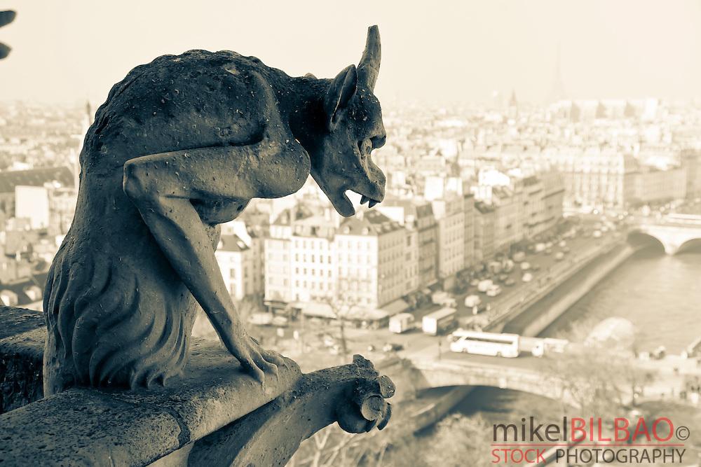 Gargoyle figure. Notre Dame Cathedral.<br /> Paris, France, Europe.