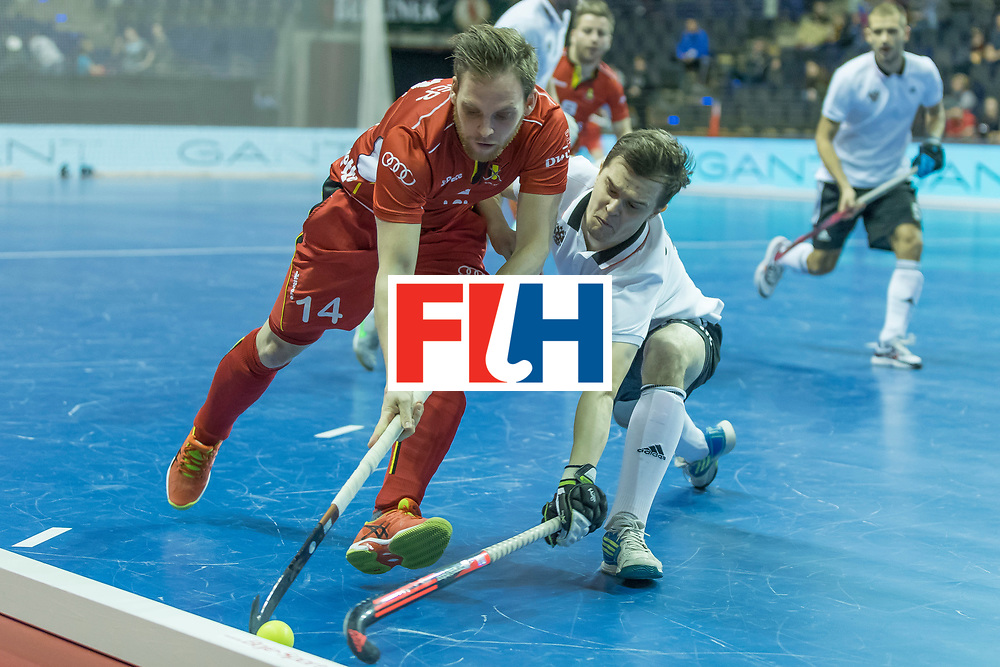 Hockey, Seizoen 2017-2018, 08-02-2018, Berlijn,  Max-Schmelling Halle, WK Zaalhockey 2018 MEN, Belgium - Russia 4-5, ZIMMER Tanguy (BEL) and GOLUBEV Pavel (RUS). Worldsportpics copyright Willem Vernes