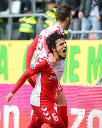 13-12-2015 NED: FC Utrecht - AFC Ajax, Utrecht<br /> Utrecht verslaat Ajax opnieuw in de Galgenwaard 1-0 / Yassin Ayoub #6 scoort de winnende treffer en viert dat met de assist gever Bart Ramselaar #23