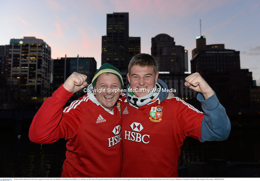 28 June 2013; British & Irish Lions supporters Paul, left, and Matthew Connolly, from Belfast, Co. Antrim, on The Yarra Promenade ahead of the Lions 2nd test match against Australia on Saturday. British & Irish Lions Tour 2013, Fans in Melboure, Australia. Picture credit: Stephen McCarthy / SPORTSFILE