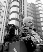 Mark with a dog, Lloyds Building, Lime St London, UK, 1986.
