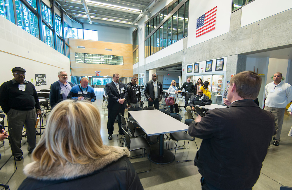 Project advisory team members, architects and Houston ISD staff tour the Marysville Getchell Campus in Marysville, WA, January 22, 2014. The campus consists of four separate high schools, each dedicated to a different career path.