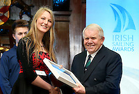 REPRO FREE***PRESS RELEASE NO REPRODUCTION FEE***<br /> Irish Sailing Awards, Royal College of Surgeons, Stephen's Green, Dublin 4/2/2016<br /> National Yacht Club sailor Liam Shanahan was named the 2015 Irish Sailor of the Year today at the Irish Sailing Awards in Dublin - Shanahan had a remarkable year, including victory in the Dun Laoghaire to Dingle race in June on his boat Ruth with two miles to spare.<br /> Kilkenny's Aoife Hopkins and Malahide's Colin O'Sullivan jointly took home the Irish Sailing Association (ISA) Youth Sailor of the Year award. The Howth Yacht Club sailors were hotly tipped following their recent Bronze medal success at the 2015 Youth World Championships in Malaysia, where they took Ireland's first doublehanded youth worlds medal in 19 years.<br /> The Mitsubishi Motors Sailing Club of the Year award was presented to the Royal Irish Yacht Club in honour of their success at local, national and international level.<br /> Mullingar Sailing Club took home the ISA Training Centre of the Year award, having been nominated as winners of the western-region Training Centre of the Year.<br /> Pictured is Douglas Elmes, Youth Sailor of the Year nominee, Howth Yacht Club, and David Lovegrove, President ISA<br /> Mandatory Credit ©INPHO/Cathal Noonan