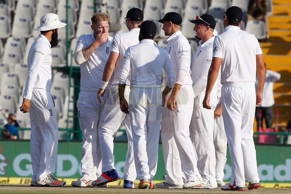 Ben Stokes of England celebrates the wicket of Virat Kohli Captain of India during day 2 of the third test match between India and England held at the Punjab Cricket Association IS Bindra Stadium, Mohali on the 27th November 2016.<br /> <br /> Photo by: Deepak Malik/ BCCI/ SPORTZPICS