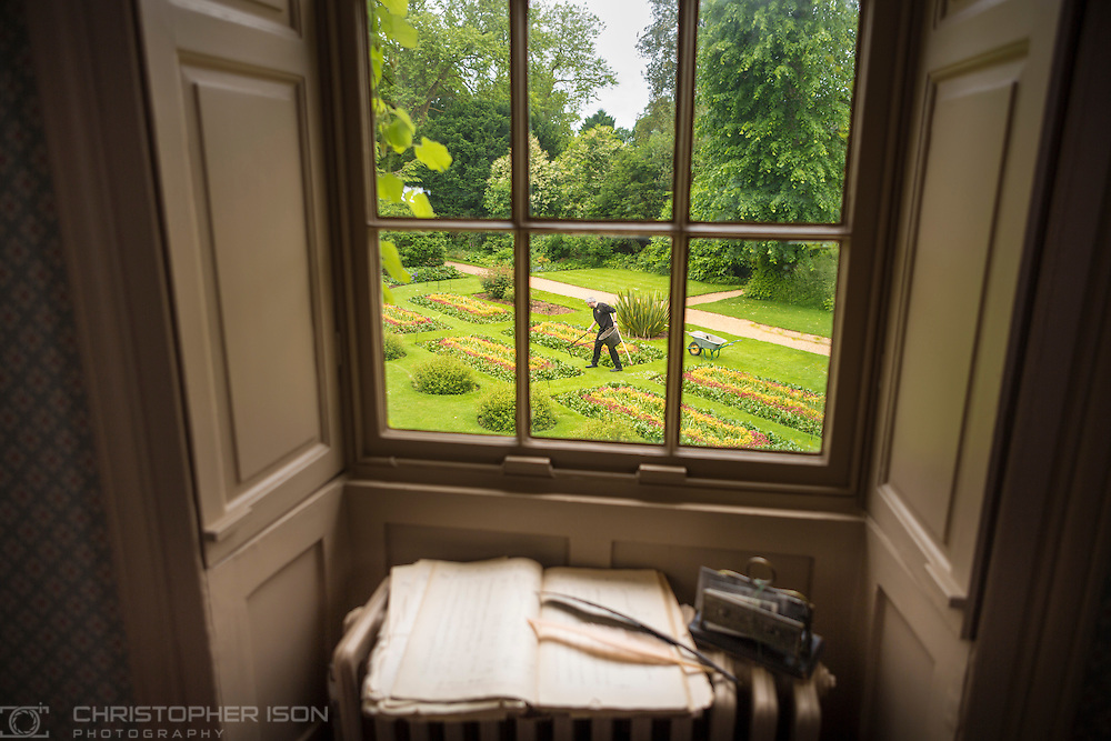 Rowan Blaik, Head Gardener pictured in the garden of Down House as seen from Charles Darwin's former bedroom. Down House is in the village of Downe in Kent and was Darwin's home from 1838 until his death in 1882.<br /> Picture date: Monday June 13, 2016.<br /> Photograph by Christopher Ison for English Heritage &copy;<br /> 07544044177<br /> chris@christopherison.com<br /> www.christopherison.com