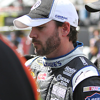 Sprint Cup Series driver Jimmie Johnson (48) in the garage area  at Daytona International Speedway on February 18, 2011 in Daytona Beach, Florida. (AP Photo/Alex Menendez)