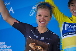 Tayler Wiles (USA) of Trek-Drops Cycling Team celebrates finishing second on Stage 2 of the Amgen Tour of California - a 108 km road race, starting and finishing in South Lake Tahoe on May 18, 2018, in California, United States. (Photo by Balint Hamvas/Velofocus.com)