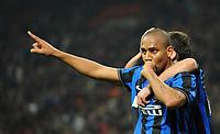 """Esultanza di Maicon dell'Inter<br /> Milano 24/3/2010 Stadio """"Giuseppe Meazza""""<br /> Inter Livorno<br /> Campionato di calcio di serie A 2009/2010<br /> Foto Bibi Insidefoto"""