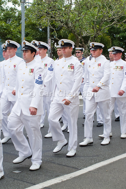 Australian Navy sailors from HMAS Cairns marching during ANZAC Day parade 2010.