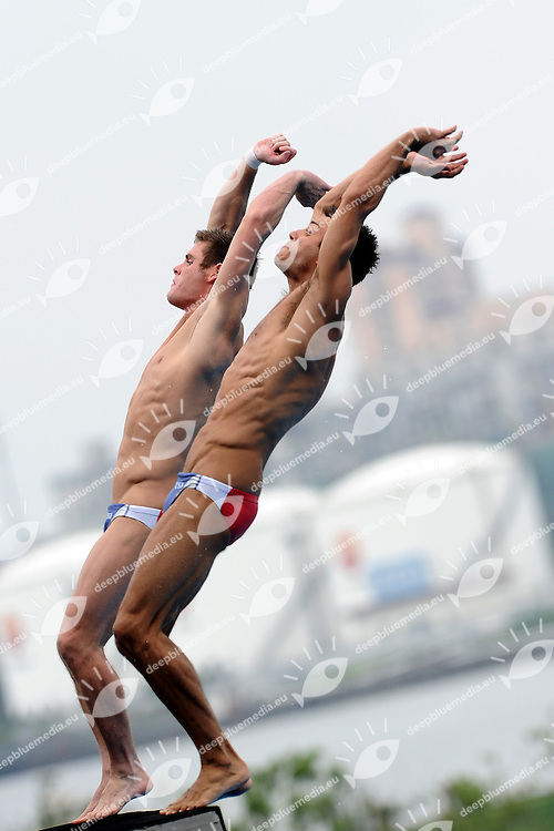 David BOUDIA and Nick MCCRORY USA<br /> Men's 10m Synchro Platform Preliminary - Tuffi Piattaforma Uomini 10m Sincronizzato<br /> Shanghai 16/7/2011 <br /> 14th FINA World Championships<br /> Foto Andrea Staccioli Insidefoto