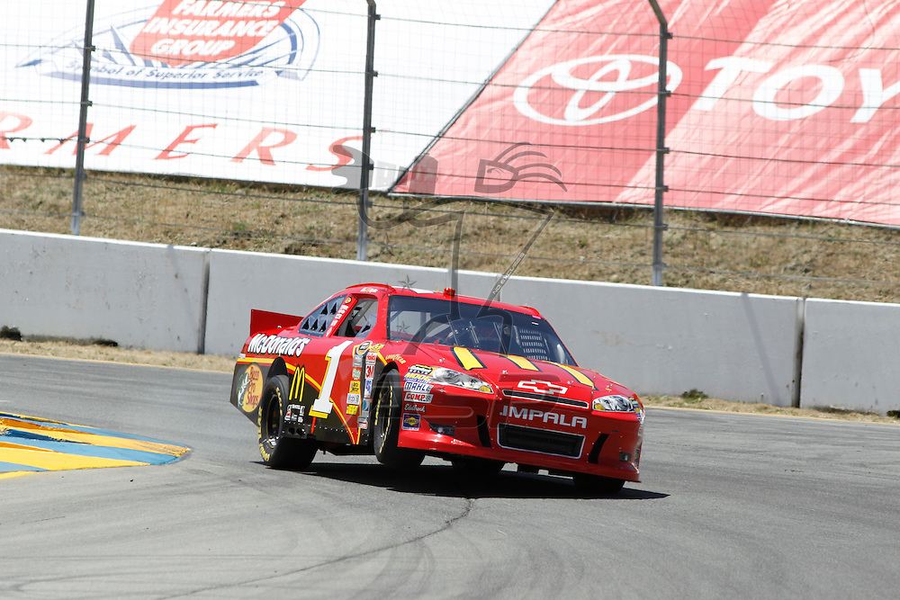 Sonoma, CA - June 24, 2011:  Jamie McMurray (1) brings his race car through the turns during a practice session for the Toyota/Save Mart 350 race at the Infineon Raceway in Sonoma, CA.
