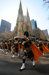 Bagpipers perform while marching in the St. Patrick's Day Parade on the Fifth Avenue in Manhattan of New York, the United States, March 17, 2010. 17th March 1756 - St. Patrick's Day was celebrated in New York City for the first time. The event took place at the Crown and Thistle Tavern. EXPA Pictures © 2016, PhotoCredit: EXPA/ Photoshot/ Shen Hong<br /> <br /> *****ATTENTION - for AUT, SLO, CRO, SRB, BIH, MAZ, SUI only*****