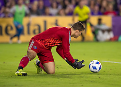 April 21, 2018 - Orlando, FL, U.S. - ORLANDO, FL - APRIL 21: Orlando City goalkeeper Joseph Bendik (1) saves a shot on goal during the MLS soccer match between the Orlando City FC and the San Jose Earthquakes at Orlando City SC on April 21, 2018 at Orlando City Stadium in Orlando, FL. (Photo by Andrew Bershaw/Icon Sportswire) (Credit Image: © Andrew Bershaw/Icon SMI via ZUMA Press)