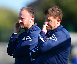 GARETH JACKSON ASSISTANT MANAGER AND MANAGER TONY McCOOL DUNSTABLE TOWN, Dunstable Town v Cambridge City, Evo-stik  League Division 1 Central, Creasey Park Saturday 29th September 2019.<br /> Score 1-1