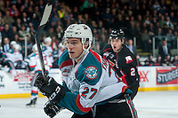 KELOWNA, CANADA - FEBRUARY 18: Calvin Thurkauf #27 of the Kelowna Rockets skates against the Prince George Cougars during second period on February 18, 2017 at Prospera Place in Kelowna, British Columbia, Canada.  (Photo by Marissa Baecker/Shoot the Breeze)  *** Local Caption ***