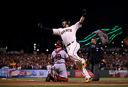 Michael Morse celebrates after belting pinch-hit home run in Game 5 of NLCS, 2014 World Series Champion Giants
