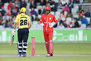 Aaron Thomason of the Birmingham Bears stumped by Lancashires Dane Vilas (Captain & Wicket Keeper) during the Vitality T20 Blast North Group match between Lancashire Lightning and Birmingham Bears at the Emirates, Old Trafford, Manchester, United Kingdom on 10 August 2018.