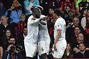 (Caption Coreection) Goal - Romelu Lukaku (9) of Manchester United celebrates scoring a goal to give a 0-2 lead to the away team Paul Pogba (6) of Manchester United and Anthony Martial (11) of Manchester United during the Premier League match between Bournemouth and Manchester United at the Vitality Stadium, Bournemouth, England on 18 April 2018. Picture by Graham Hunt.