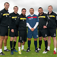 St Johnstone pre-season training....24.06.11<br /> Derek McInnes with new signings, from left, David McCracken, David Robertson, Sean Higgins, Callum Davidson and Frazer Wright<br /> see story by Gordon Bannerman Tel: 07729 865788<br /> Picture by Graeme Hart.<br /> Copyright Perthshire Picture Agency<br /> Tel: 01738 623350  Mobile: 07990 594431