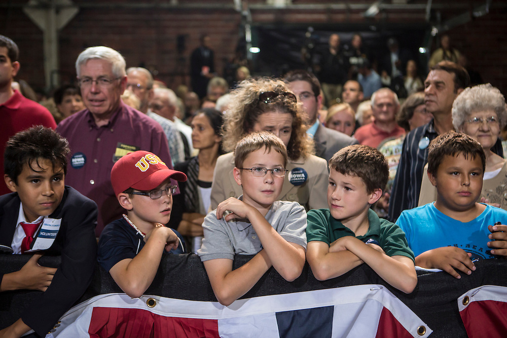 Kids wait for Vice President Joe Biden to speak at a campaign rally at the Port of Burlington during a two-day campaign swing through Iowa on Monday, September 17, 2012 in Burlington, IA.