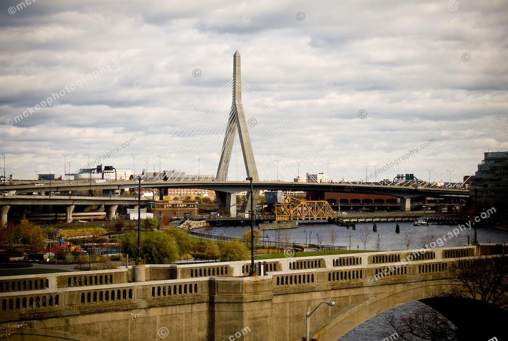 View of the Zakim Bridge from Cambridge.