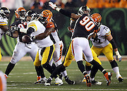 Pittsburgh Steelers quarterback Ben Roethlisberger (7) gets sacked by Cincinnati Bengals defensive tackle Geno Atkins (97) for a loss of 5 yards negated by an unsportsmanlike conduct penalty on the Bengals that gives the Steelers a second quarter first down during the NFL AFC Wild Card playoff football game against the Cincinnati Bengals on Saturday, Jan. 9, 2016 in Cincinnati. The Steelers won the game 18-16. (©Paul Anthony Spinelli)