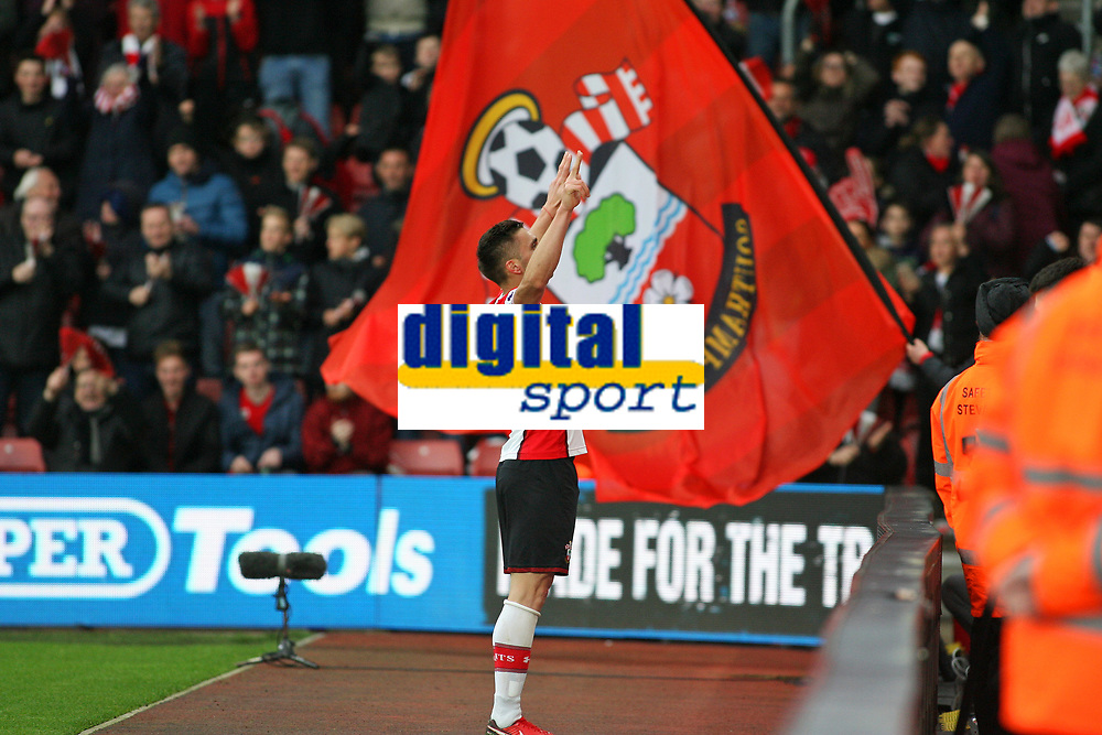 Football - 2017 / 2018 Premier League - Southampton vs. AFC Bournemouth<br /> <br /> Southampton's Dusan Tadic takes the applause from the Saints fans after putting them two one up at St Mary's Stadium Southampton<br /> <br /> COLORSPORT/SHAUN BOGGUST
