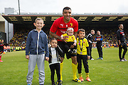 Watford Troy Deeney with his family during the Sky Bet Championship match between Watford and Sheffield Wednesday at Vicarage Road, Watford, England on 2 May 2015. Photo by Phil Duncan.
