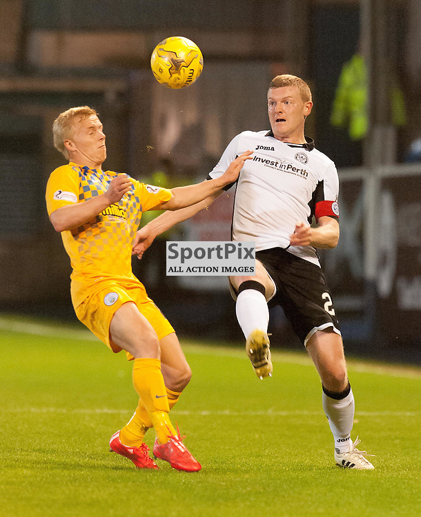 #15 Conor Pepper (Greenock Morton) and #24 Brian Easton (St Johnstone). Greenock Morton v St Johnstone, Scottish League Cup, 27 October 2015. © Russel Hutcheson | SportPix.org.uk