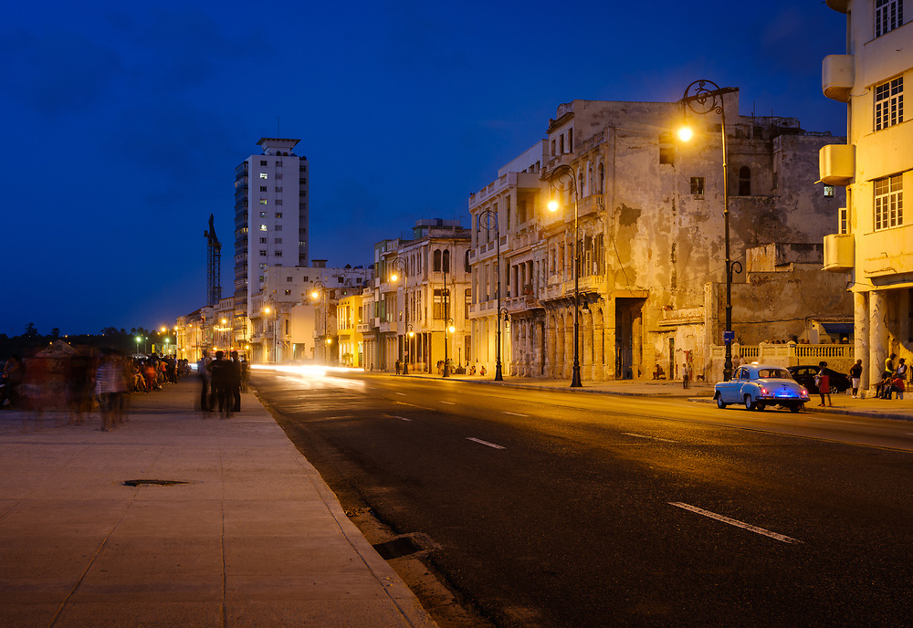HAVANA, CUBA - CIRCA MAY 2017:  The Malecon in Havana at night. A popular tourist attraction in Havana.