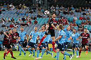 Western Sydney Wanderers defender Brendan Hamill (5) goes up for the ball at the Hyundai A-League Round 8 soccer match between Western Sydney Wanderers FC and Sydney FC at ANZ Stadium in NSW, Australia
