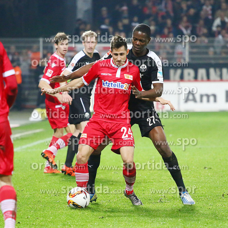 18.12.2015, Alte Foersterei, Berlin, GER, 2. FBL, 1. FC Union Berlin vs SV 1916 Sandhausen, 19. Runde, im Bild Zweikampf zwischen Eroll Zejnullahu (#27, 1. FC Union Berlin) und Seyi Olajengbesi (#27, SV Sandhausen) // during the 2nd German Bundesliga 19th round match between 1. FC Union Berlin and SV 1916 Sandhausen at the Alte Foersterei in Berlin, Germany on 2015/12/18. EXPA Pictures &copy; 2015, PhotoCredit: EXPA/ Eibner-Pressefoto/ Hundt<br /> <br /> *****ATTENTION - OUT of GER*****